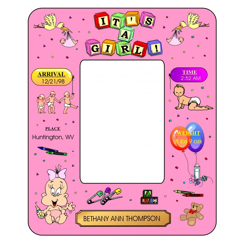 New Baby Girl Photo Frame - Design 1 - Photo Frames - Personalized Gifts