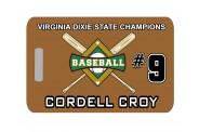 Baseball Bag Tag - Design 3 - Crossed Bats