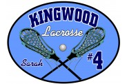 Lacrosse Magnet  - Design 6 - Oval - Crossed Sticks