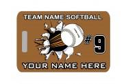 Softball Bag Tag - Design 3 - Softball Break Out Image