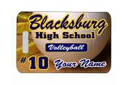 Volleyball Bag Tag - Design 2 - Full Color - Rectangle