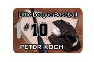 Baseball Bag Tag - Design 1- Bat and Glove